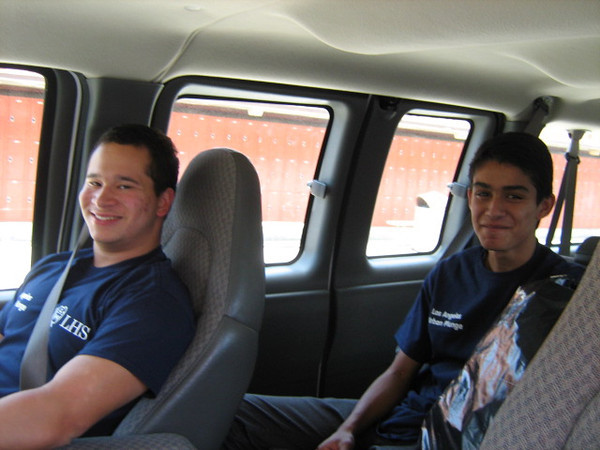 The fifteen used two vans to get around town. Here are Nick and Gab.