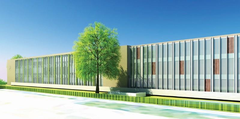 Impressie van de nieuwe school aan de oostzijde.