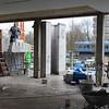 In de E-vleugel wordt nu hard gemetseld aan de uitbouw van de lokalen.
