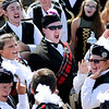 "Don Knight | The Herald Bulletin<br /> Drum majors Sarah Wardwell and Kodie Bair and super seniors start a ""motivated"" chant before the Anderson High School Marching Highlanders performance at State Fair Band Day on Saturday."