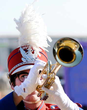 Don Knight   The Herald Bulletin<br /> An Elwood musician keeps a close eye on the drum major during competition at State Fair Band Day on Saturday.