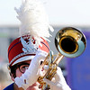 Don Knight | The Herald Bulletin<br /> An Elwood musician keeps a close eye on the drum major during competition at State Fair Band Day on Saturday.
