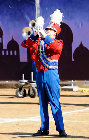 Don Knight | The Herald Bulletin<br /> Elwood's Cale Morrison performs a solo as the Panther Band competes at State Fair Band Day on Saturday.