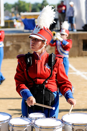 Don Knight | The Herald Bulletin<br /> Percussionist Rosie Beaman performs with the Elwood Panther Band at State Fair Band Day on Saturday.