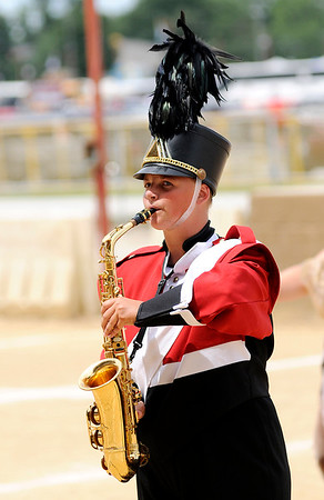 Don Knight | The Herald Bulletin<br /> Andrea Kilgore performs with the Frankton Marching Eagles at State Fair Band Day on Saturday.