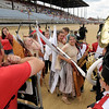 Don Knight | The Herald Bulletin<br /> Frankton celebrates after performing at State Fair Band Day on Saturday.