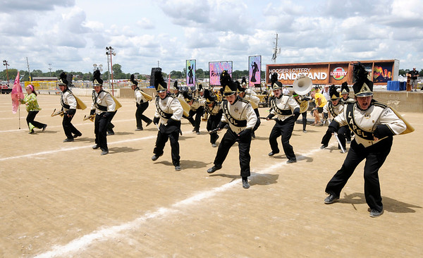 Don Knight | The Herald Bulletin<br /> The Lapel Marching Bulldogs dance The Funky Chicken after their performance at State Fair Band Day on Saturday.