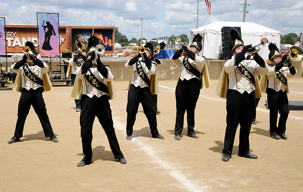 "Don Knight | The Herald Bulletin<br /> The Lapel Marching Bulldogs perform their show ""Bohemian Rhapsody"" at State Fair Band Day on Saturday."