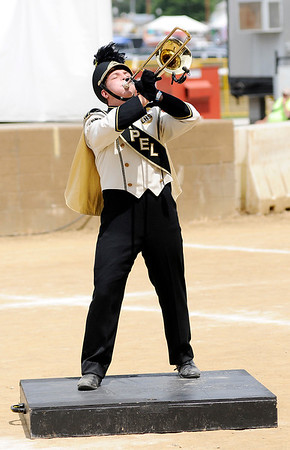 "Don Knight | The Herald Bulletin<br /> Lapel's Daniel Fisher performs a solo during the Bulldog's show ""Bohemian Rhapsody"" at State Fair Band Day on Saturday."