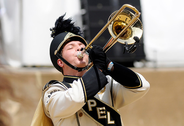 Don Knight   The Herald Bulletin<br /> Lapel at State Fair Band Day on Saturday.