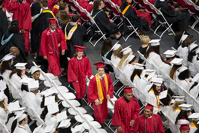 Noah's row heads towards the stage -- Noah Friedlander - June 6, 2017 graduation from Montgomery Blair High School - Magnet Program for Math, Science, and Computer Science, Xfinity Center, University of Maryland, College Park.