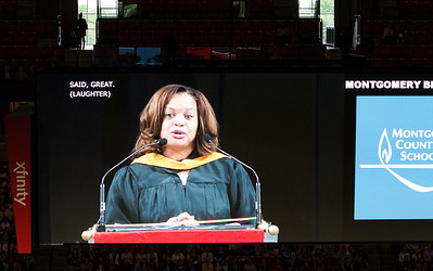 Principal Renay Johnson speaks -- Noah Friedlander - June 6, 2017 graduation from Montgomery Blair High School - Magnet Program for Math, Science, and Computer Science, Xfinity Center, University of Maryland, College Park.