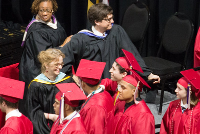 (detail) :In line for his diploma, Noah receives a congratulatory hug from English teacher and drama director Mrs Kelly O'Connor -- Noah Friedlander - June 6, 2017 graduation from Montgomery Blair High School - Magnet Program for Math, Science, and Computer Science, Xfinity Center, University of Maryland, College Park.