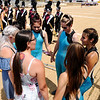 Don Knight | The Herald Bulletin<br /> Alexandria's color guard gathers for a moment before competing at State Fair Band Day on Friday.