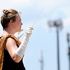 Don Knight | The Herald Bulletin<br /> Drum Major Kami Horn directs the Marching Tigers at State Fair Band Day on Friday.
