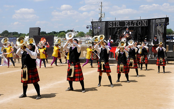 "Don Knight | The Herald Bulletin<br /> Anderson performs their show ""Sir Elton"" at State Fair Band Day on Friday."