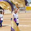 Don Knight | The Herald Bulletin<br /> Lexi Mullins performs with the Marching Highlanders during State Fair Band Day on Friday.