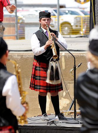 Don Knight | The Herald Bulletin<br /> Haley Short performs a solo as the Anderson Marching Highlanders perform at State Fair Band Day on Friday.