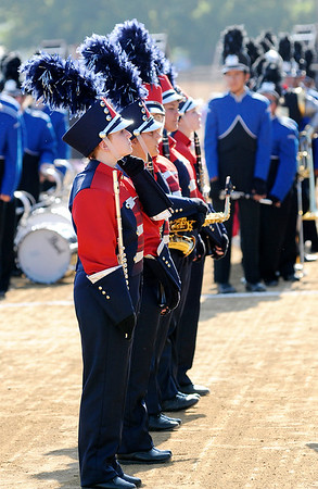 Don Knight | The Herald Bulletin<br /> The Elwood Panther Band waits to perform at State Fair Band Day on Friday.