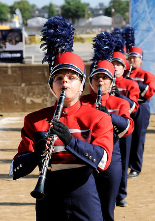 Don Knight   The Herald Bulletin<br /> Lexie Edwards performs with the Elwood band during State Fair Band Day on Friday.