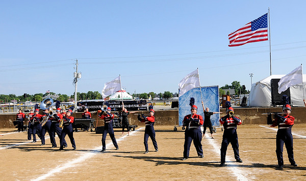 "Don Knight | The Herald Bulletin<br /> Elwood performs their show ""Fire and Ice"" at State Fair Band Day on Friday."