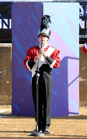 Don Knight | The Herald Bulletin<br /> Micah Brooks performs a solo as Frankton competes in State Fair Band Day on Friday.
