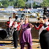 Don Knight | The Herald Bulletin<br /> Phylissidy Caldwell tosses her rifle in the air as Frankton performs during State Fair Band Day on Friday.
