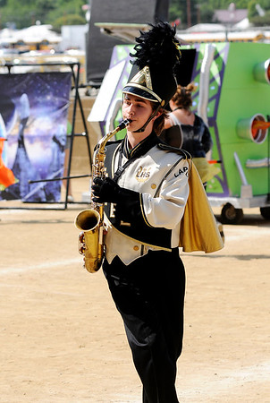 Don Knight | The Herald Bulletin<br /> Nikolas Fisher plays the alto sax as Lapel performs during State Fair Band Day on Friday.