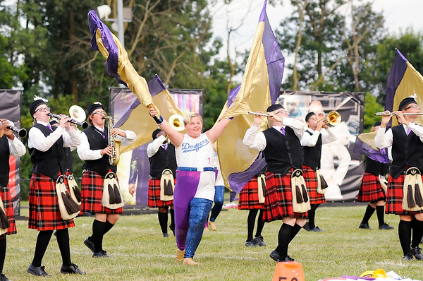 "Don Knight | The Herald Bulletin<br /> The Marching Highlanders came in second with their show ""Sir Elton"" as they hosted the Tartan Tournament of Bands at Highland Middle School on Friday."