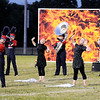 "Don Knight | The Herald Bulletin<br /> Elwood performs their show ""Fire and Ice"" at the Tartan Tournament of Bands at Highland Middle School on Friday."