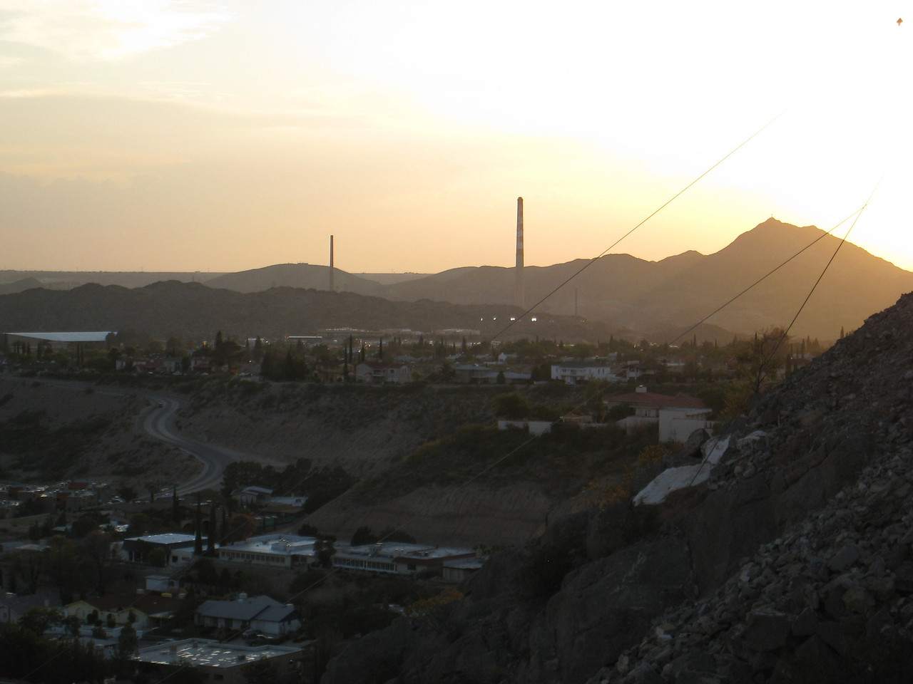 View of West El Paso from Scenic Drive - ASARCO smoke stacks in the distance