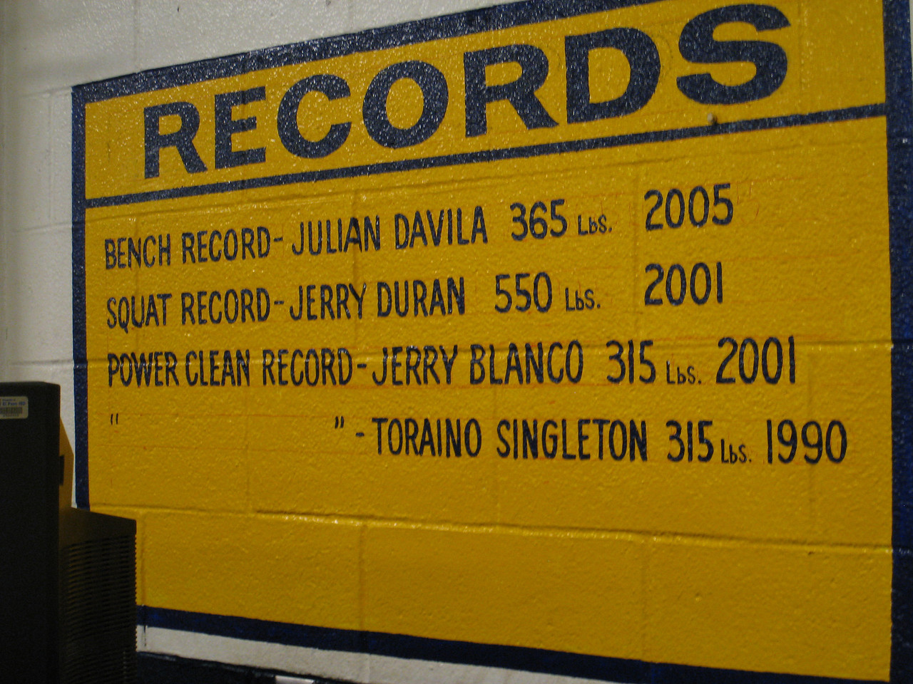 Some of the weight lifting records at Coronado