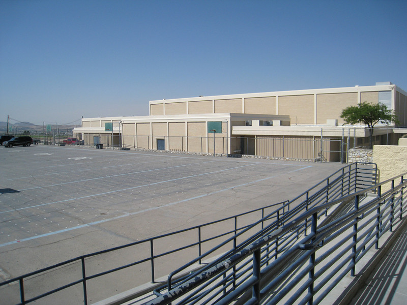 The outside basketball courts at Coronado