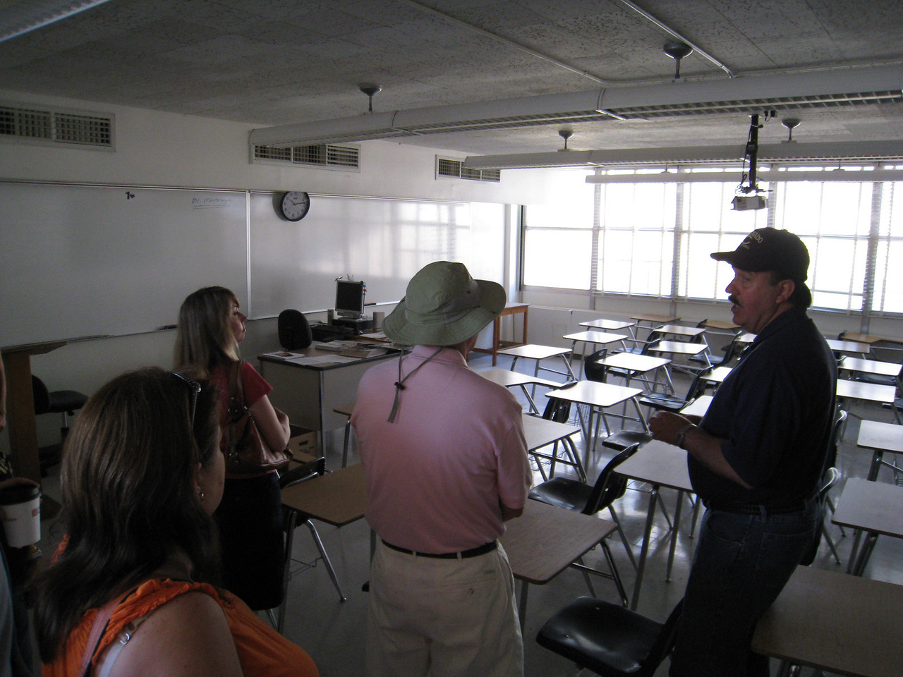 Mr. Guiterrez showing us around the classrooms. Not much has changed.