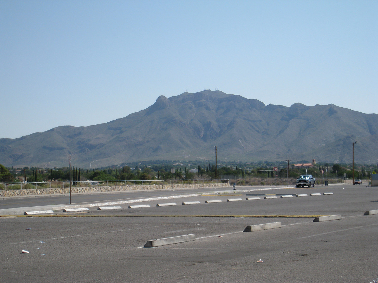 View of the Franklin Mountains from the Coronado parking lot.