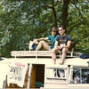 Gunsch & Sid hangin' out on top of Fauster's '63 Bus at the '85 Clambake.