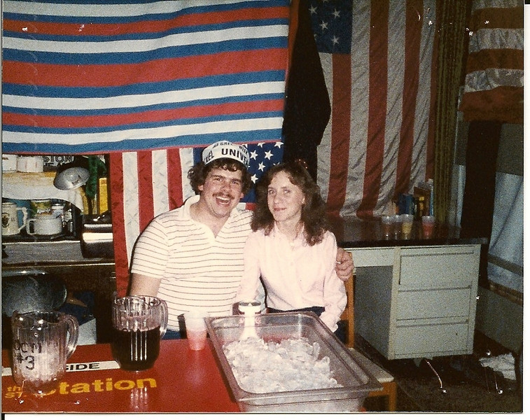Fauster & Patti in Room 3 at a Lambda Chi Hotel Party - Winter '85