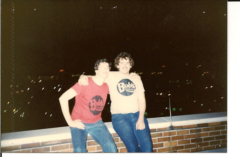 Koski & Fauster on the roof of Kelly Hall - Spring '84.