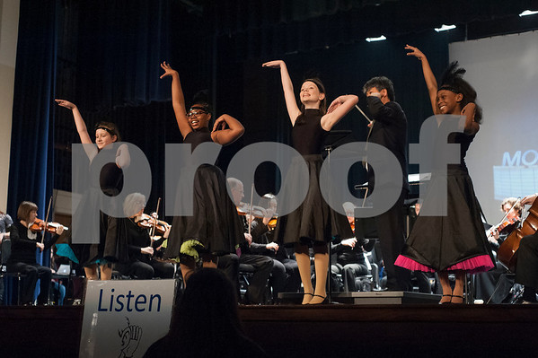 Caldwell Elementary School dancers perform with the The East Texas Symphony Orchestra during their annual Link Up concert at Caldwell Auditorium on Tuesday Feb. 13, 2018. Over 3,400 fourth and fifth grade students from TISD and other schools attended the concert.   (Sarah A. Miller/Tyler Morning Telegraph)