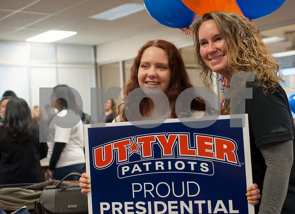 Robert E. Lee High School student Madison Hysell takes a photo with her mother Casey Hysell after a surprise announcement on Tuesday Feb. 13, 2018 that she will receive a full ride scholarship to the University of Texas at Tyler. Six REL students learned that they received UT Tyler Presidential Fellow Scholarship on Tuesday.  (Sarah A. Miller/Tyler Morning Telegraph)