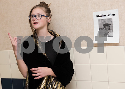 Clarkson Elementary School student Rylee Drumm portrays Shirley Allen, first black deaf woman to earn a Ph.D. More than 70 students participated in the event, dressing in costume as historic African Americans and reciting short speeches to their peers and visitors at the school.  (Sarah A. Miller/Tyler Morning Telegraph)