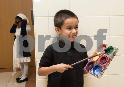 Clarkson Elementary School student Sergio Lizalde, 5, portrays African American artist Kadir Nelson Friday Feb. 17, 2017 during the Black History Living Museum at the school. More than 70 students participated in the event, dressing in costume as historic African Americans and reciting short speeches to their peers and visitors at the school.  (Sarah A. Miller/Tyler Morning Telegraph)