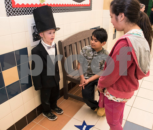 Clarkson Elementary School student Mason Kemper, 5, recites a speech as Abraham Lincoln during the Black History Living Museum at the school Friday Feb. 17, 2017. More than 70 students participated in the event, dressing in costume as historic African Americans and reciting short speeches to their peers and visitors at the school.  (Sarah A. Miller/Tyler Morning Telegraph)