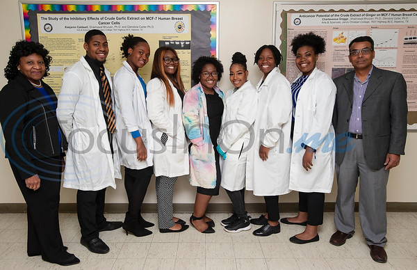 Seven Jarvis Christian College students will travel this week to Washington, D.C. to present their research on finding a cure for cancer at the Emerging Researchers National Conference. Pictured from left: Dr. Glendora Carter, Justin Sharp, Honour Adewumi, Dequaysha Greene, Kaejaren Caldwell, Chartaveoua Graggs, LaTerrian Wiley Kaayla Tippins and Dr. Shakhawat Bhuiyan.  (Sarah A. Miller/Tyler Morning Telegraph)