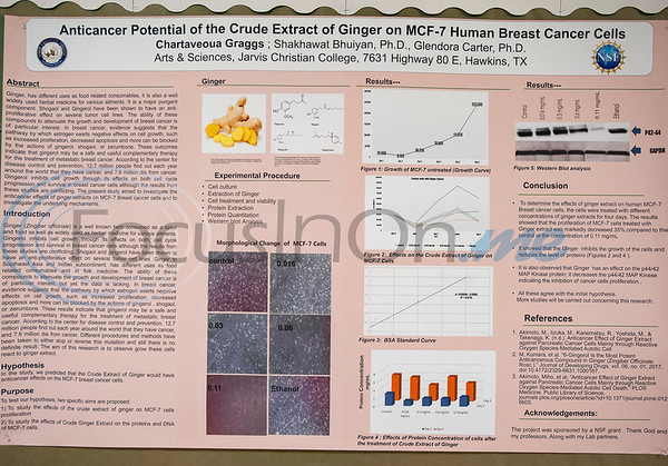 A biology research paper on cancer cells hangs in the hallway at Jarvis Christian College on Monday Feb. 18, 2019. Seven Jarvis Christian College students will travel this week to Washington, D.C. to present their research on finding a cure for cancer at the Emerging Researchers National Conference.  (Sarah A. Miller/Tyler Morning Telegraph)