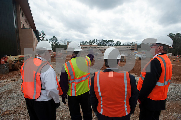 Construction leaders give a tour of the newly named Soules College of Business at the University of Texas at Tyler on Monday Feb. 19, 2018.   (Sarah A. Miller/Tyler Morning Telegraph)
