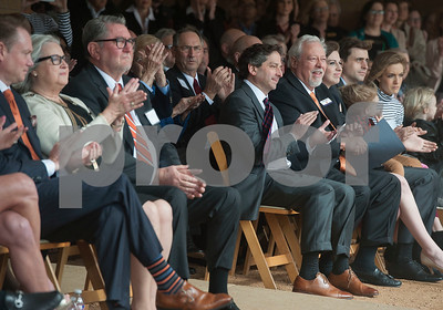 Judy Soules, John Soules Sr. UT Board of Regents Kevin Eltife and Dr. James Lumpkin, Dean of the The Soules College of Business, applaud at the announcement of the name change at the University of Texas at Tyler on Monday Feb. 10, 2018. The new name is part of an agreement for John Soules Foods to make a major investment supporting student success at the college. (Sarah A. Miller/Tyler Morning Telegraph)