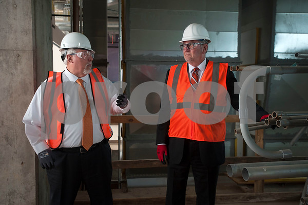 Soules College of Business Dean Dr. James Lumpkin, left, gives John Soules Foods Company chairman John Soules Sr. a tour of the newly named business building which is still under construction on Monday Feb. 19, 2018 at the University of Texas at Tyler.  (Sarah A. Miller/Tyler Morning Telegraph)
