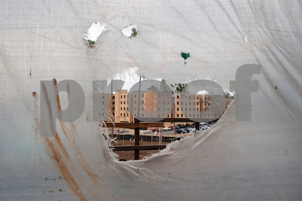 The Ornelas Resident Hall is seen from a tear in a temporary fabric wall in the Soules College of Business which is still under construction on Monday Feb. 19, 2018 at the University of Texas at Tyler.  (Sarah A. Miller/Tyler Morning Telegraph)