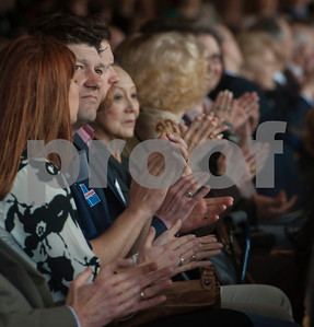 People in attendance at a press conference on Monday Feb. 19, 2018 applaud as the University of Texas at Tyler announces that it will rename the College of Business and Technology to the Soules College of Business. The new building is currently under construction.  (Sarah A. Miller/Tyler Morning Telegraph)